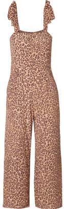 Faithfull The Brand Elsa Cropped Leopard-print Crepe Jumpsuit