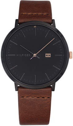 Tommy Hilfiger Men's Brown Leather Strap Watch 40mm