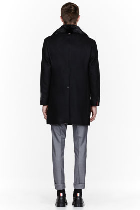 Thom Browne Black Beaver Fur trimmed double-breasted coat