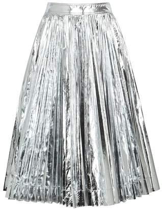Calvin Klein Silver Pleated Taffeta Midi Skirt