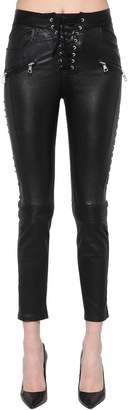 Unravel Skinny Lace-Up Stretch Logo Leather Pant