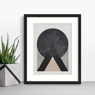 Green Lili Moon, Mountains And Ocean Abstract Print