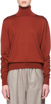 The Row Donnie Turtleneck Long-Sleeve Cashmere Top