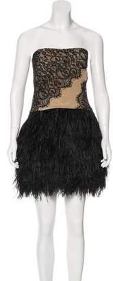 Haute Hippie Feather-Trimmed Mini Dress