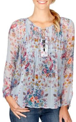 Lucky Brand Floral Sheer Blouse $89.50 thestylecure.com
