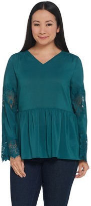 Du Jour V-Neck Peplum Woven Top with Lace Bell Sleeve