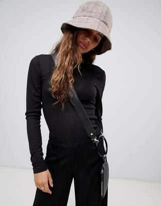 Weekday mesh long sleeve top in black