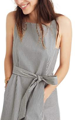 Madewell Stripe Apron Tie Waist Midi Dress
