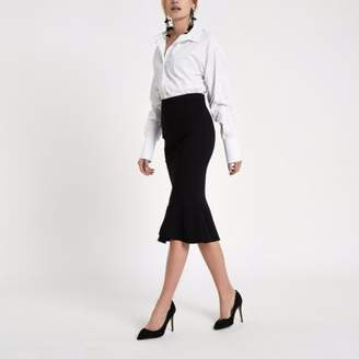 River Island Black peplum hem pencil skirt