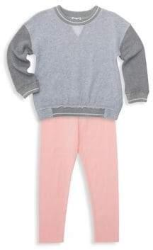Splendid Little Girl's Two-Piece French Terry Two-Tone Sweatshirt & Leggings Set