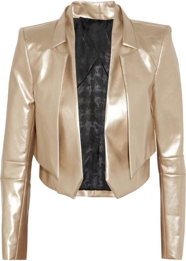 Karl Jane metallic faux leather jacket