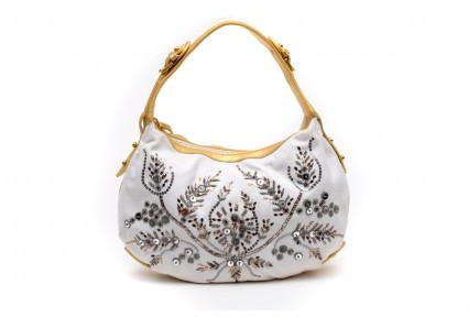 Emilio Pucci excellent (EX White Canvas Sequins & Metallic Gold Leather Hobo Bag