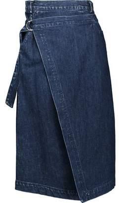 Sea Asymmetric Denim Wrap Skirt