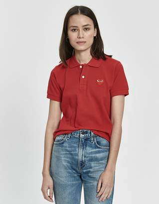 Comme des Garcons Play Red Heart Polo Shirt in Red