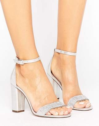 Call it Spring Call It Spring Mirelivia Silver Block Heel Sandals $72 thestylecure.com