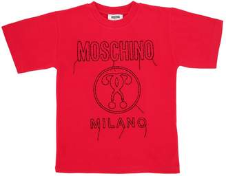 Moschino Embroidered Cotton Jersey Maxi T-Shirt