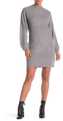 Modern Designer Pointelle Long Sleeve Knit Sweater Dress