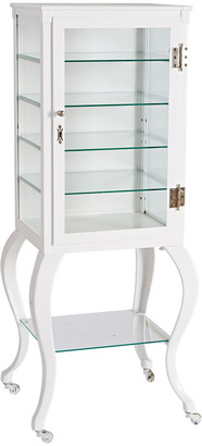 Rejuvenation Tall White Painted Steel Medical Cabinet w/ Cabriole Legs