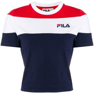 Fila cropped stripe print T-shirt