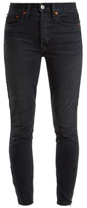 Re/Done Originals Re/done Originals - Zip Cuff High Rise Skinny Jeans - Womens - Black