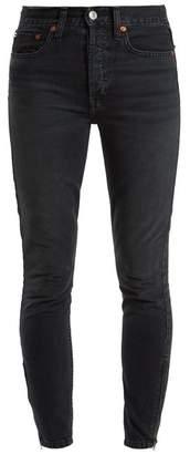 Re/done Originals - Zip Cuff High Rise Skinny Jeans - Womens - Black