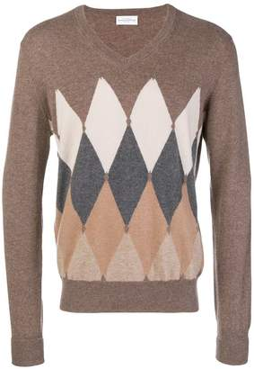 Ballantyne argyle knitted vneck sweater
