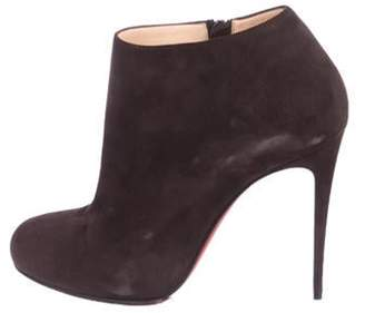 Christian Louboutin Suede Round-Toe Booties Brown Suede Round-Toe Booties