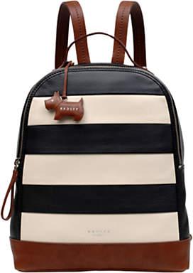 Radley Stripe Leather Backpack, Black/Cream