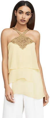 BCBGMAXAZRIA Beverly Embroidered Tulle-Trimmed Top