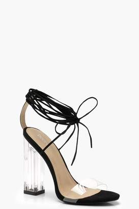 boohoo Clear Heel Wrap Strap Sandals
