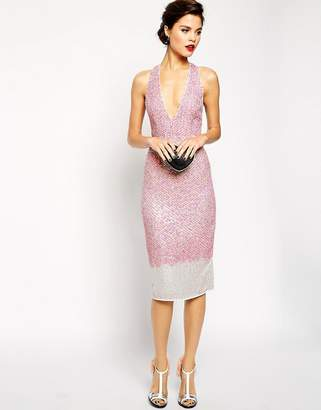 Red Carpet ASOS DESIGN ASOS Premium Embellished Midi Dress With Plunge Front