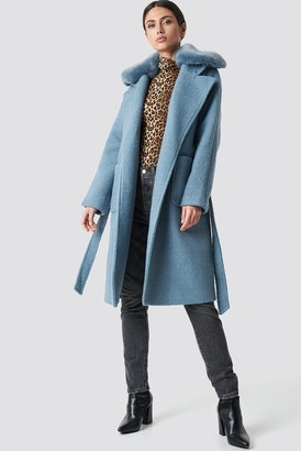 Na Kd Trend Big Faux Fur Collar Coat Dusty Blue