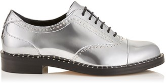 Jimmy Choo REEVE FLAT Silver Liquid Mirror Leather Brogues with Micro Studs