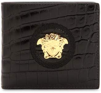 Versace Medusa Croc Embossed Leather Coin Wallet