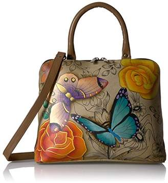 Anuschka Anna by Women's Genuine Leather Slim Zip-Around Cross Body Satchel | Hand Painted Original Artwork | Floral Paradise Tan