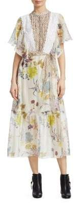 See by Chloe Organza Floral Midi Dress