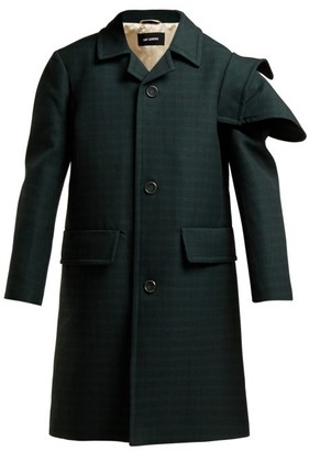 Raf Simons Single Breasted Checked Wool Coat - Womens - Dark Green