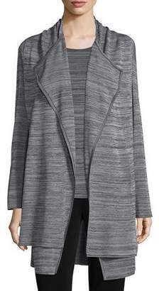 Misook Long-Sleeve Open-Front Jacket, Neutral Gray/Black, Plus Size