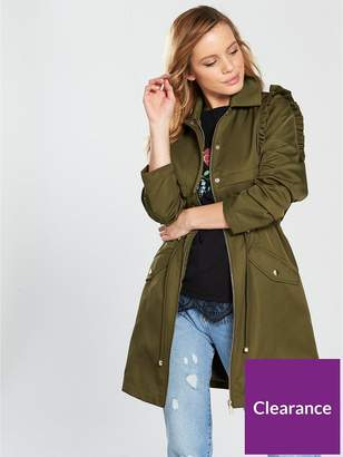 V By Very Petite Ruffle Detail Trench Coat