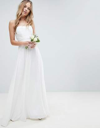 Asos Edition EDITION Wedding Pleated Maxi Dress with Lace Panels