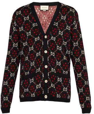 Gucci Gg Alpaca And Wool Blend Cardigan - Mens - Black Red