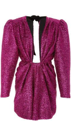DANIELE CARLOTTA Structured Shimmer Long Sleeve Mini Dress