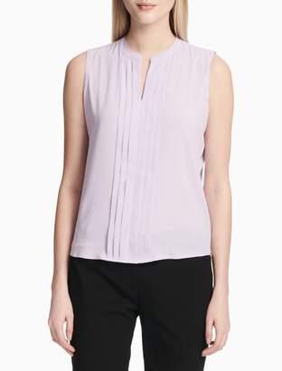 Calvin Klein Solid V-Neck Sleeveless Blouse