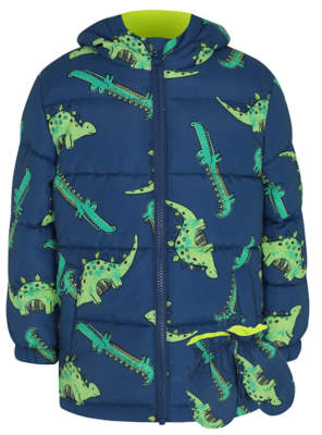 George Blue Dinosaur Print Coat and Mittens