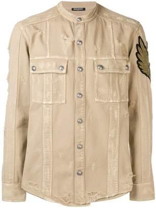 Balmain distressed patch shirt