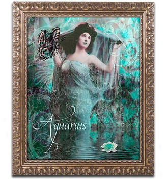 Color Bakery 'Art Nouveau Zodiac Aquarius' Ornate Framed Art