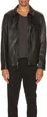 Schott Collar Lamb Leather Jacket in Black | FWRD