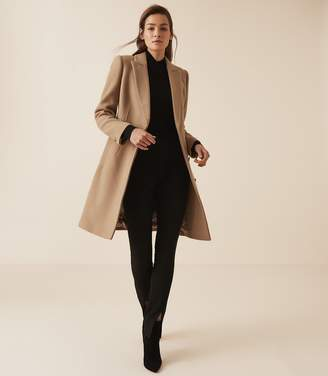 Reiss SANTHIA WOOL BLEND DOUBLE BREASTED COAT Camel
