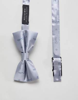Religion bow tie in silver