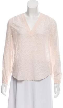 Rebecca Taylor Silk-Blend Long Sleeve Top